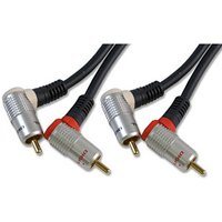 1.5m 90 Degree Angled Stereo Audio Phono Cable 2x phono Pure OFC sale image