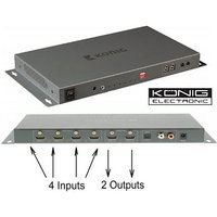 4 x 2 HDMI Matrix Switcher - 4 Input 2 Output