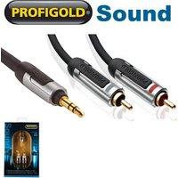 Profigold PROA3405 3.5mm jack to 2 x RCA Phono Audio Cable 5m sale image