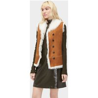 UGG Womens Renee Toscana Shearling Vest in Chestnut, Size XL