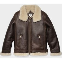 UGG Mens Auden Shearling Aviator Jacket in Chestnut, Size XL