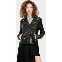 UGG Womens Alba Leather Jacket in Black, Size Medium
