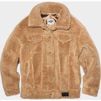 UGG Womens Frankie Sherpa Trucker Jacket in Camel, Size XL