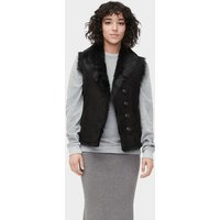 UGG Womens Renee Toscana Shearling Vest in Black, Size XL