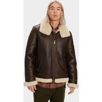 UGG Mens Auden Shearling Aviator Jacket in Chestnut, Size Small