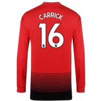 2018-2019 Man Utd Adidas Home Long Sleeve Shirt (Carrick 16) - Kids