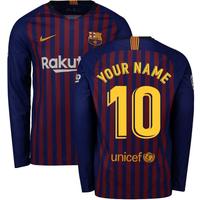 2018-2019 Barcelona Home Nike Long Sleeve Shirt (Your Name)