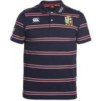 2016-2017 British Irish Lions Rugby Cotton Stripe Polo Shirt (Peacot)