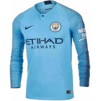 2018-2019 Man City Home Nike Long Sleeve Shirt
