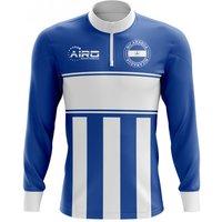 Nicaragua Concept Football Half Zip Midlayer Top (Blue-White)