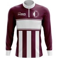 Qatar Concept Football Half Zip Midlayer Top (Burgundy-White)