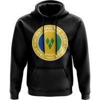 Image of Saint Vincent and The Grenadines Football Badge Hoodie (Black)