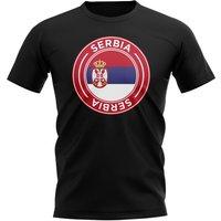 Serbia Football Badge T-Shirt (Black)