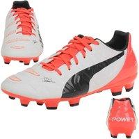 Puma Evopower 3.2 FG Football Boots (White-Orange) - Kids