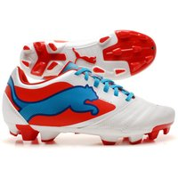 Powercat 4 FG Kids Football Boots White/Orange/Ocean