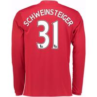 2016-17 Man United Home Long Sleeve Shirt (Schweinsteiger 31) - Kids