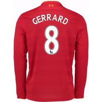 2016-17 Liverpool Home Long Sleeve Shirt (Gerrard 8) - Kids