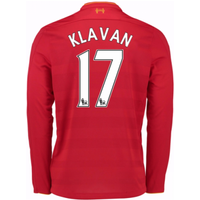 2016-17 Liverpool Home Long Sleeve Shirt (Klavan 17) - Kids