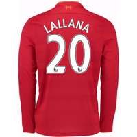2016-17 Liverpool Home Long Sleeve Shirt (Lallana 20) - Kids