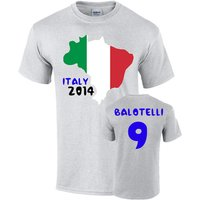Italy 2014 Country Flag T-shirt (balotelli 9)