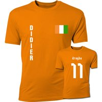 Image of Didier Drogba Ivory Coast Flag T-Shirt (Orange)