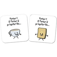 Pair of Personalised Go Together Like Tea and Biscuits Coasters