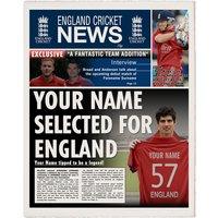 Personalised England Cricket Newspaper - Cook