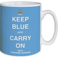 Personalised Manchester City Keep Blue Mug