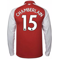 2017-18 Arsenal Home Long Sleeve Shirt - Kids (Chamberlain 15)