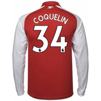 2017-18 Arsenal Home Long Sleeve Shirt - Kids (Coquelin 34)