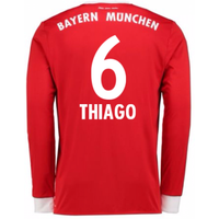 2017-18 Bayern Munich Home Long Sleeve Shirt (Kids) (Thiago 6)