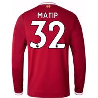 2017-18 Liverpool Home Long Sleeve Shirt (Kids) (Matip 32)