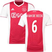 2018-2019 Ajax Adidas Home Football Shirt (Van De Beek 6)