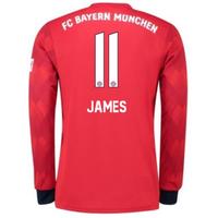 2018-2019 Bayern Munich Adidas Home Long Sleeve Shirt (James 11)