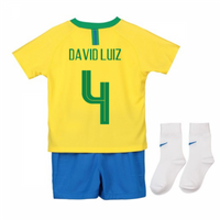 2018-2019 Brazil Home Nike Baby Kit (David Luiz 4)