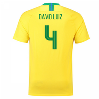 2018-2019 Brazil Home Nike Football Shirt (David Luiz 4) - Kids