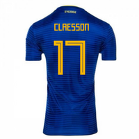 2018-2019 Sweden Away Adidas Football Shirt (Claesson 17) - Kids
