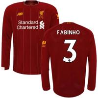2019-2020 Liverpool Home Long Sleeve Shirt (Kids) (Fabinho 3)