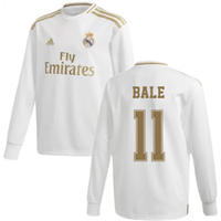 2019-2020 Real Madrid Adidas Home Long Sleeve Shirt (Kids) (BALE 11)