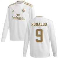 2019-2020 Real Madrid Adidas Home Long Sleeve Shirt (Kids) (RONALDO 9)