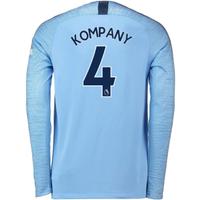 2018-2019 Man City Home Nike Long Sleeve Shirt (Kompany 4)