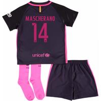 2016-17 Barcelona Away Little Boys Mini Kit (With Sponsor) (Mascherano 14)