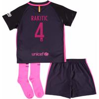 2016-17 Barcelona Away Little Boys Mini Kit (With Sponsor) (Rakitic 4)