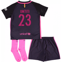 2016-17 Barcelona Away Little Boys Mini Kit (With Sponsor) (Umtiti 23)
