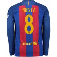 2016-17 Barcelona Home Long Sleeve Shirt (Iniesta 8)