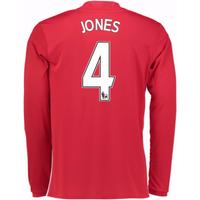 2016-17 Man United Home Long Sleeve Shirt (Jones 4)