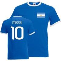 Image of Lionel Messi Argentina Ringer Tee (blue)