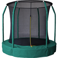 Air League 12ft In Ground Sunken Trampoline With Safety Enclosure Green