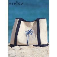 Aspiga Palm Tree Canvas Beach Bag