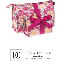 Danielle Creations Peony Twin Pack Of Small And Tall Cosmetic Travel Bags